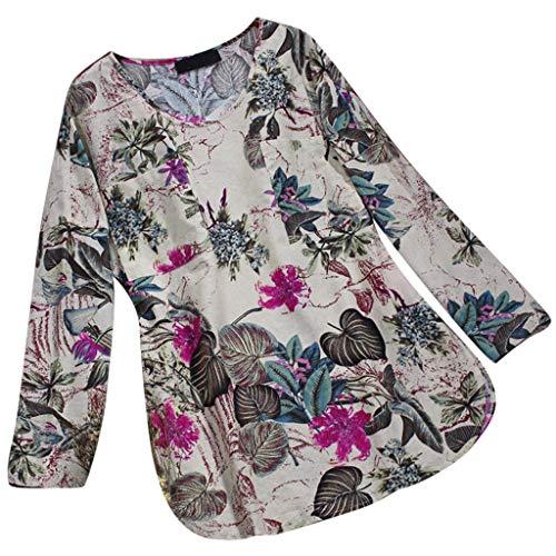 MRULIC Damen Fledermaus Hemd Lässig Locker Top Dünnschnitt Bluse Frühling T-Shirt Leinenbluse Freundin(F2-Weiß,EU-38/CN-M)
