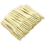Hysagtek - Tenedores desechables de bambú para fiesta, 400 unidades, 2 puntas, tenedores de cóctel de fruta, tenedores de punta redonda para casa y fiesta de catering, 8,9 cm