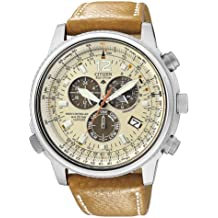 Citizen Promaster AS4020-44B - Reloj cronógrafo de cuarzo para hombre, correa de cuero color marrón