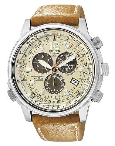 Citizen - AS4020-44B - Montre Homme - Quartz - Chronographe - Solaire-Alarme-Radio-Chronomètre - Bracelet cuir Marron