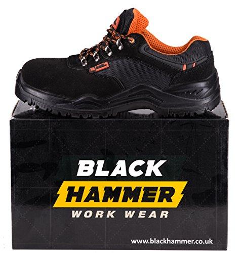 314b1c82894 Black Hammer Mens Safety Trainers Lightweight Composite Toe Cap and Kevlar  Midsole Work Boots Shoes Hiker Extra Grip S1P SRC 1557 (9 UK) Black Orange