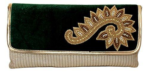 HBG104_Gre: Mehya ist wunderschön Grün und Gold samt und Stoff Clutch mit Antique Gold, Gold und Silber Stein und perlen Stickerei (Samt-abend-handtasche)