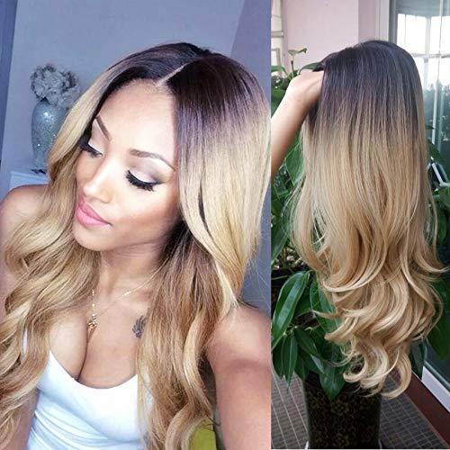 HANNE Ombre Blonde longue perruque frisée perruque synthétique complète de la résistance de chaleur