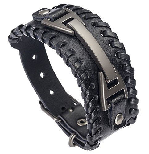 Doitory Men Leather Bracelet Punk Braided Rope Alloy Bracelet Bangle