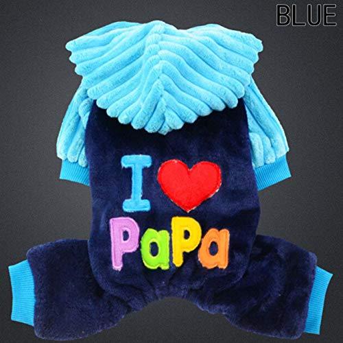guantongda Amazing Pets Kostüm, I Love Papa/I Love Mama, für Hunde und Katzen, Halloween, Weihnachten, Hunde und Katzen, super Crazy Kleidung - Blue-XXS