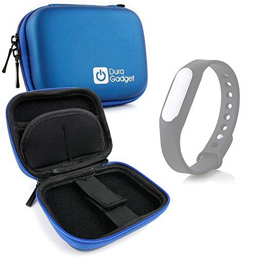 DURAGADGET Custodia Rigida Blu per Xiaomi Mi Band 1S / Mi-Band | Jawbone UP3 / UP2 - con Elastici - Ideale per I Viaggi! - Alta qualità