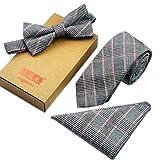 Männer Elegante Plaid-Muster Krawatten Set Krawatte/Fliege/Pocket, Hellgrau