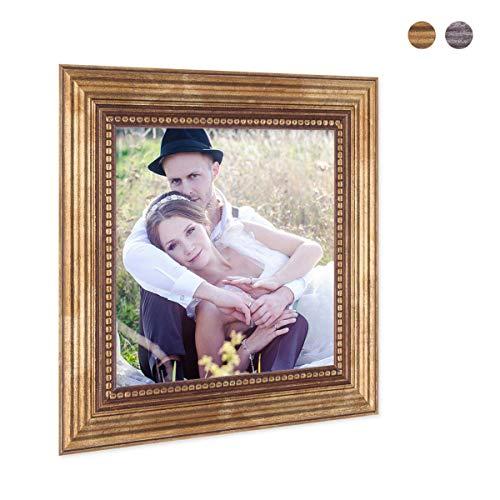 Photolini Bilderrahmen 15x15 cm Gold Barock Antik Massivholz mit Glasscheibe und Zubehör/Fotorahmen/Barock-Rahmen