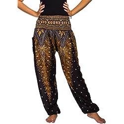 Lofbaz las mujeres Pantalones Harem Boho de cintura alforzada Peacock 1 Negro M