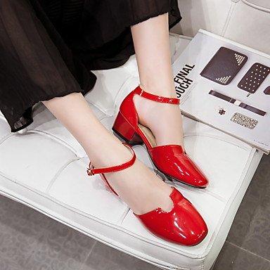 NVXZD Da donna-Sandali-Ufficio e lavoro Formale Casual-Comoda Scarpe Flower Girl Tacchi Piccoli per adolescenti-Quadrato Heel di blocco-Vernice- Rosso