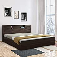 HomeTown Bolton Engineered Wood Hydraulic Storage Queen Size Bed in Wenge Colour