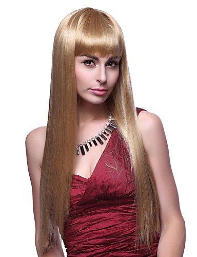 Fashion wigstyle Capless hochwertige Qualität Synthetische Lange Gerade Golden Blonde Haar Perücken auf Verkauf billige