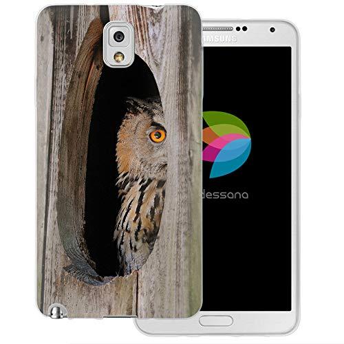 dessana Eule Uhu transparente Schutzhülle Handy Case Cover Tasche für Samsung Galaxy Note 3 Eule Baumhöhle (Eule Handy Cover Für Note 3)