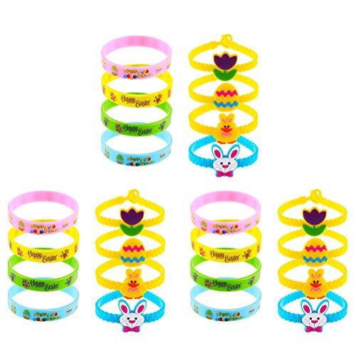 Easter Rubber Wristbands Ostern Armbänder, Unisex Bunny Egg Fillers Basket Stuffers Partydekorationen Wrist Decor - 24 Mischfarben