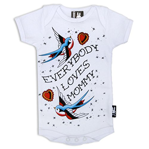SIX Bunnies Baby body Old School Tattoo Print - Every Body LOVES Mommy pagliaccetto Bianco bianco 0-3 Mesi