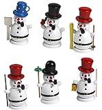 Räuchermännchen, Rauchfigur, Weihnachten, 6 verschiedene Schneemänner im Set