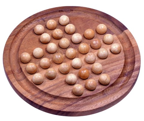 Solitär Gr. XL rund mit Kugeln - 26 cm Durchmesser - Solitaire - Denkspiel - Knobelspiel - Geduldspiel - Logikspiel aus Samena-Holz