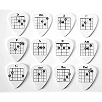 12 x Chords Tab Guitar Picks Plectrums suitable for both electric and acoustic guitars