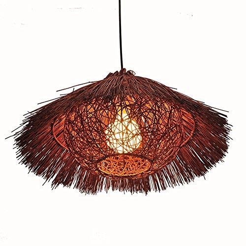 LighSCH Pendelleuchten Kronleuchter Südostasien eine idyllische Rattan Balkon Flur Strohhut Vogelkäfig Lampe Espresso Braun 20W 40cm Led