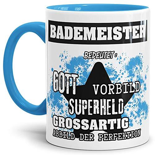 Tassendruck Berufe-Tasse Bedeutung Eines Bademeister Innen & Henkel Hellblau/Job/Tasse mit Spruch/Kollegen/Arbeit/Witzig/Mug/Cup/Geschenk-Idee Qualität - 25 Jahre Erfahrung