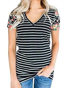 Camisas de mujer, Dragon868 Camiseta De Manga Corta A Rayas Con Cuello En V Manga Corta Para Mujeres