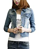 Classic Pink Frauen Basic Mäntel Damen Jeansjacke Vintage Langhülse Lose Jeans Mantel Beiläufige Outwear Blau 2XL