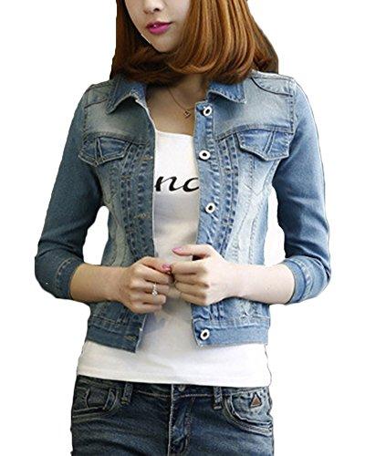 Frauen Basic Mäntel Damen Jeansjacke Vintage Langhülse Lose Jeans Mantel Beiläufige Outwear Blau XL