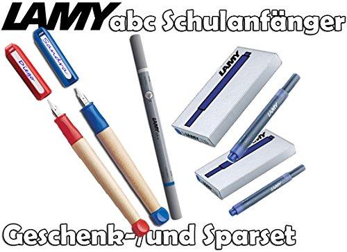 Lamy Schreiblernfüller ABC, Feder: A (blau + rot, mit 10 Tintenpatronen & Tintenkiller) -