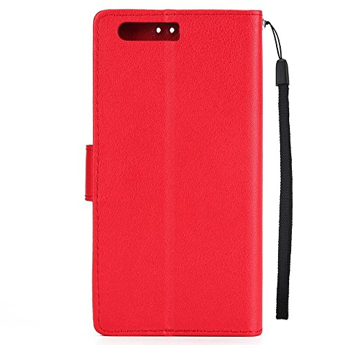 Classic Premiu PU Ledertasche, Horizontale Flip Stand Case Cover mit Cash & Card Slots & Lanyard & Soft TPU Interio Rückseite für Huawei P10 Plus ( Color : White ) Red