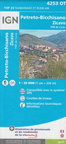 IGN 4253 OT Petreto-Bicchisano Zicavo, PNR de Corse (Corse, France) 1:25.000 carte de randonnée topographique