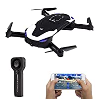 LE-IDEA IDEA8 Selfie Drone Optical Flow Position Wifi 720P HD FPV for Beginner & kids,Mini Remote fixs into Quad copter with follow items function and two batteries by LEIDEA