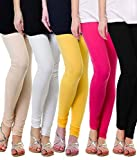 ZAKOD Women's Cotton Lycra Churidar Leggings Combo (Pack of 5 Pink ,Skin ,White ,Yellow ,Black) - Free Size