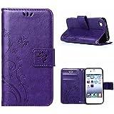 MOONCASE iPhone SE Bookstyle Étui Fleur Housse en Cuir Case à rabat pour iPhone SE / 5S /5 Coque de protection Portefeuille TPU Case Violet