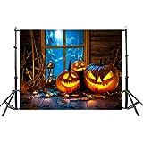VEMOW Halloween Party Dekoration Kulissen Kürbis Vinyl 5x3FT Laterne Hintergrund Fotografie Studio Wandaufkleber 150 * 90cm(M
