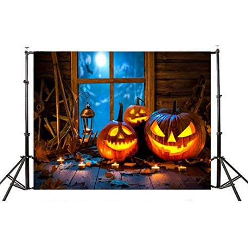 VEMOW Halloween Party Dekoration Kulissen Kürbis Vinyl 5x3FT Laterne Hintergrund Fotografie Studio Wandaufkleber 150 * 90cm(Mehrfarbig, 150 * 90cm) (Halloween-kostüme Easy-familie Machen)