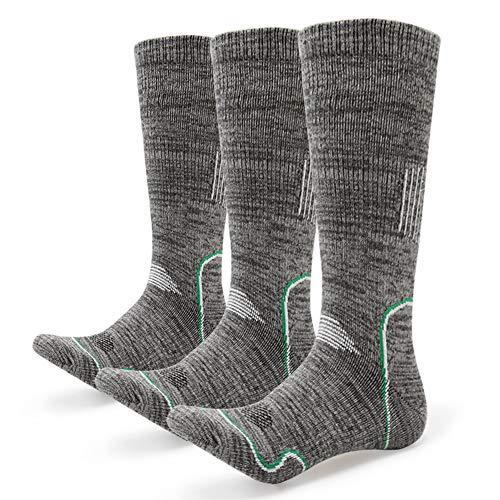 Schwere Kissen Socke (Afuly Wandersocken Herren Keine Blister Dick gepolsterte Baumwolle Schweres Kissen Thermo Graue Stiefelsocke für Trekking Outdoor 3er Pack)