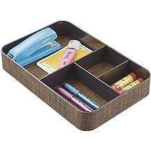 mDesign Organizador de escritorio – Cajas de plástico de color bronce para escritorio, cómodas o cajones – Caja organizadora para material de oficina con 4 compartimentos
