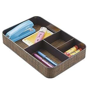 mDesign boîte de rangement – panier de rangement en plastique pour la table, commode et tiroirs – bac de rangement avec compartiments : organisateur de bureau avec 4 compartiments – couleur : bronze