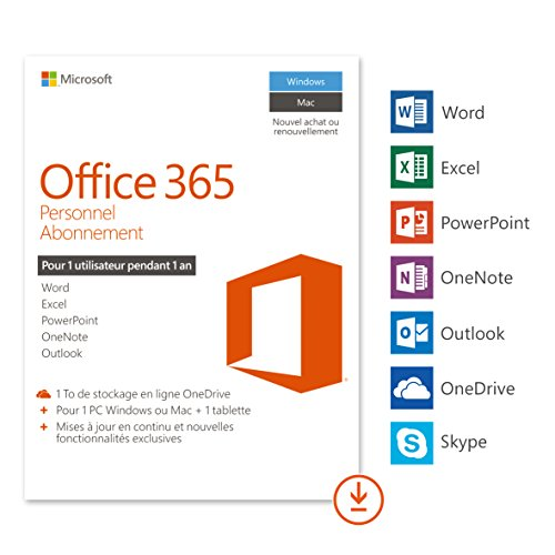Microsoft Office 365 Personnel | 1 PC Windows ou Mac + 1 tablette | 1 an |...