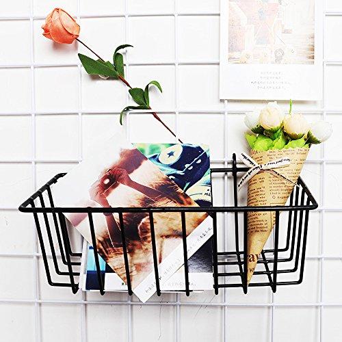 zonyeo Metall Wire Hängepflanze Korb, multifunktional Creative Mesh Wall Grid Halter Aufbewahrung Organizer Halter Regal Blumentöpfe schwarz beschichtet (Korb Wire)