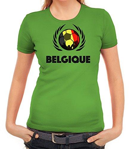 ShirtStreet Belgium Belgique Soccer Fussball WM Fanfest Gruppen Fan Wappen Damen T-Shirt Fußball Belgien Apfelgrün