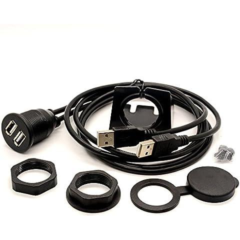 1m/3ft Dual USB Salpicadero Flush Mount Cable de extensión macho a hembra Kit