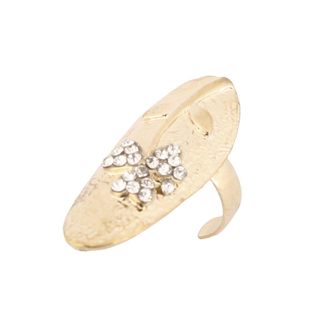 Sourcingmap–Strass motivo floreale Lady Finger dita anello, Oro tono