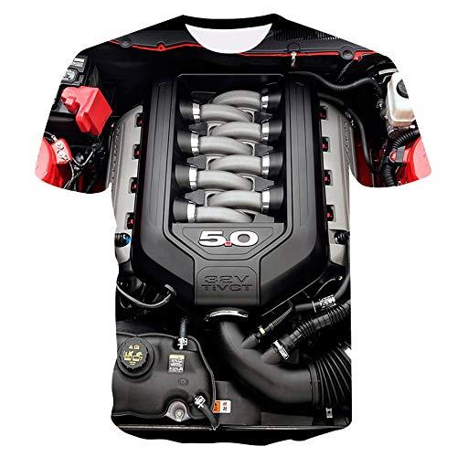 XIAOBAOZITXU T-Shirt 3D-Digitaldruck Pullover Sommer Männer Und Frauen Kurze Ärmel Motor Schmaler Schnitt Cooles Lustiges Unisex-Paar-Kostüm XL (Lustig Paar Kostüm)