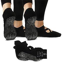LA Active Calcetines Antideslizantes - Para Yoga Pilates Ballet Barre Mujer Hombre - Pointe (2x Negro)