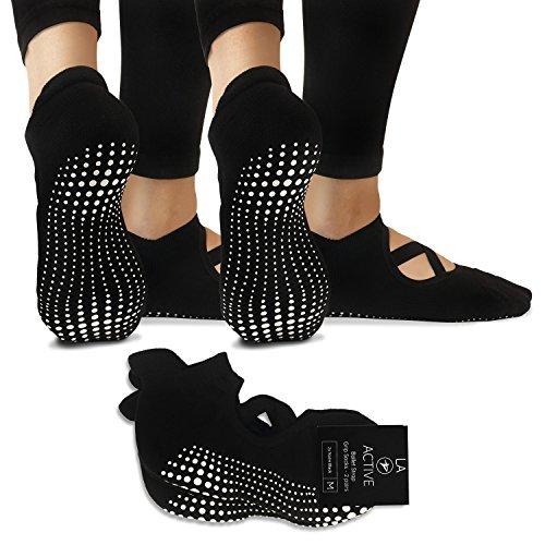 LA Active Grip Socken - Yoga Pilates Balletstange Ballet Abs Noppen Rutschfest Pointe (Schwarz)