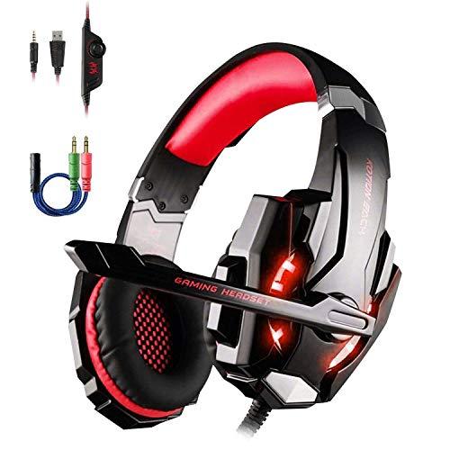Dpower Gaming Headset für PS4 mit Y Adapter, Over-Ear Gaming Kopfhörer mit Mikrofon LED Licht, Noise Cancelling Kopfhoerer mit Stereo-Lautsprecher für PC Computer Laptop Tablet Mac Smartphones (Rot)