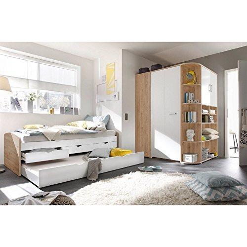 ... Bett/Kojenbett Ausziehbar Und Begehbarer Kleiderschrank Eiche Weiß  Jugendzimmer Corner Nessi, Relaxdays Stufenregal Holz ...