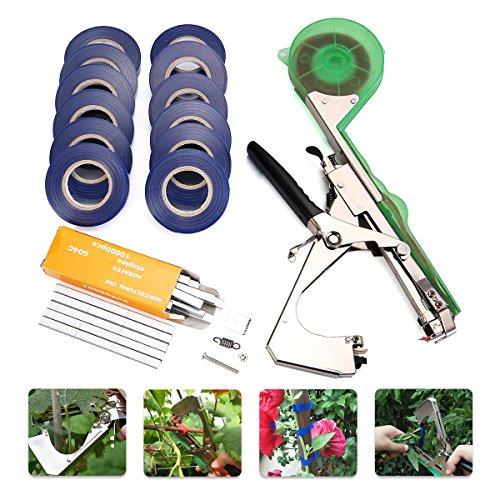 king do way legatrice per piante, kit di attrezzi toccando attrezzo da giardinaggio in acciaio inossidabile rilegatrice agricoltura fiore legatura di mano di rami per piante frutta vegetale