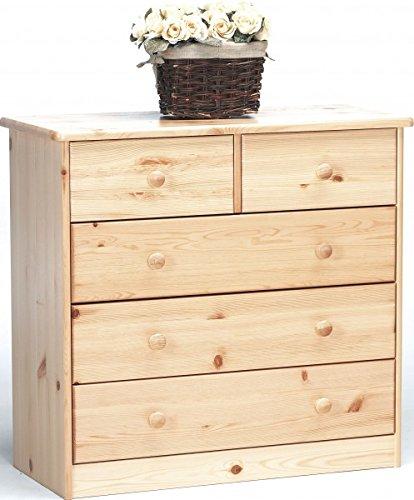 Erst-Holz® Kommode Sideboard Anrichte Kiefer Natur 2+3 Schubladen 90.50-12S -